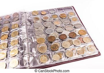 album, mondiale, monnaie, pièces