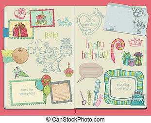 album na wycinki, wektor, -, ręka, elementy, komplet, pociągnięty, notatnik, szczęśliwy, projektować, urodziny