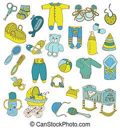 album na wycinki, zaprojektujcie elementy, -, niemowlę, przybycie, komplet, -, w, wektor