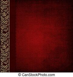 album, or, photo, couverture, -red, orné