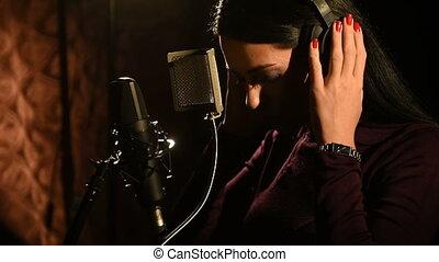album, ou, musicien, enregistrement, nouveau, cd, studio., ...