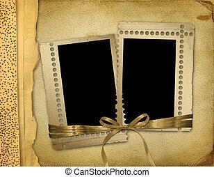 album, oud, foto, foto's, kaarten, grunge, of