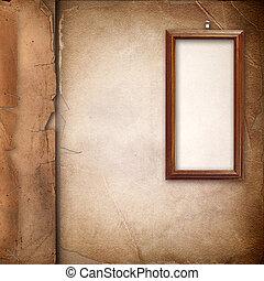 album, oud, foto, op, dekking, kader, papier