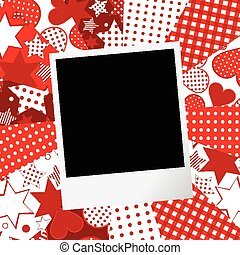 Album page for scrapbook with photo frame and love motifs background