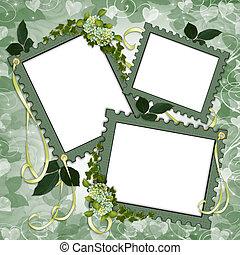 album, page, frontière, floral, album