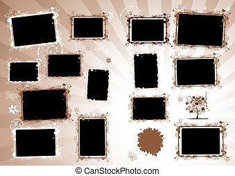 album, page., inserto, foto, disegno, cornici, tuo