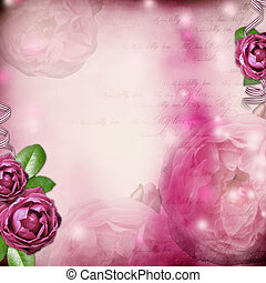 Album page - romantic background with rose