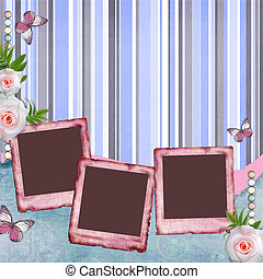 album, papillon, papier, rose, style, page, cadres, set), ...
