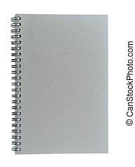 album per schizzi, filo, limite spirale, grigio, fatto, asse, o, isola