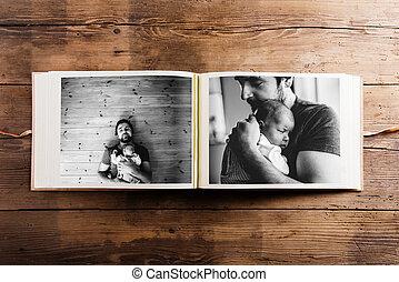 album, photo, pères, père, day., girl., images, bébé