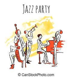 album, rys, gry, koncert, jazz., jazzband., jazz, osłona, odizolowany, ilustracja, kwartet, wektor, white., afisz, music., albo, styl