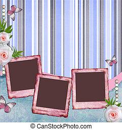 album, stijl, roos, (1, set), foto, pagina, beautyful, papier, lijstjes, plakboek, vlinder