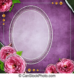 album, style, verre, fond, cadre, grunge, fleurs, set), (1, vendange