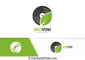 album, uniek, blad, combination., eco, symbool, logotype, of, registreren, vector, ontwerp, vinyl, logo, muziek, icon., organisch, template.