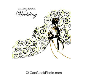 album, uso, foto, matrimonio, coperchio, invito, o, graphic;