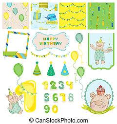 album, vecteur, -, éléments, invitation, bébé, félicitation, conception, anniversaire, ours