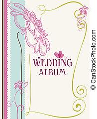 album, vektor, fedő, ábra, esküvő
