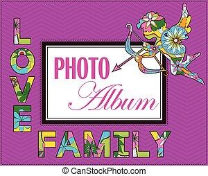 album, weddng, dekking, gezin