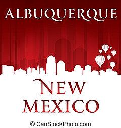 albuquerque, méxico, fundo, skyline, cidade, vermelho, novo...