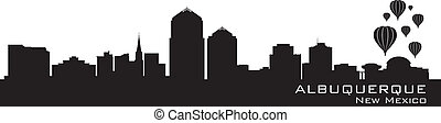 Albuquerque, New Mexico skyline. Detailed silhouette. Vector...