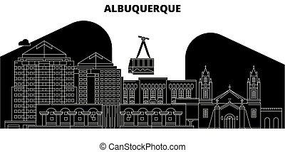 Albuquerque, United States, vector skyline, travel illustration, landmarks, sights.
