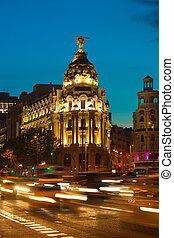 Alcala and Gran Via street in Madrid at night