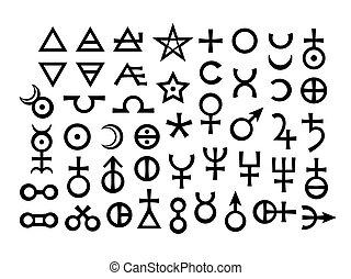 alcali, alchemical, signs:, métaux, minéraux