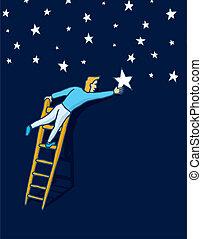 alcançar, a, estrelas, com, um, escada