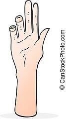 alcançar, caricatura, mão