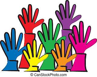 alcançar, coloridos, mãos