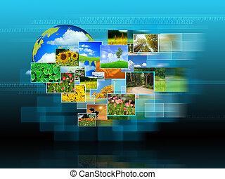 alcançar, imagens, streaming, .environmental, conceito
