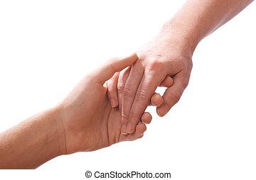 alcançar, mãos