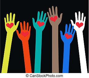 alcançar, mãos humanas