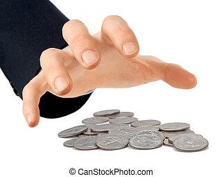 alcançar, moedas, mão