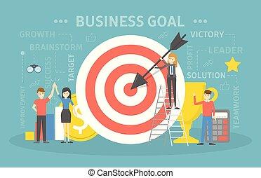 alcançar, negócio, meta, conceito, ilustração