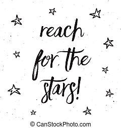 alcance, a, estrelas, tipografia, desenho, 0403