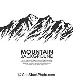 alcance montanha, isolado, branco, fundo