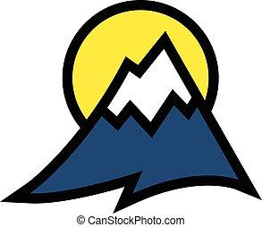 alcance montanha, vetorial, ícone