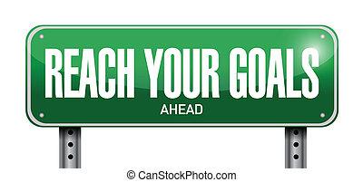 alcance, seu, metas, à frente, sinal, ilustração, desenho
