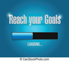 alcance, seu, metas, carregando, barzinhos, ilustração