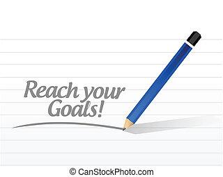 alcance, seu, metas, mensagem, ilustração, desenho