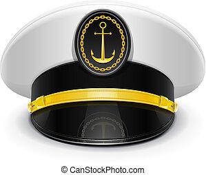 alcanzado máximo, capitán, gorra, escarapela