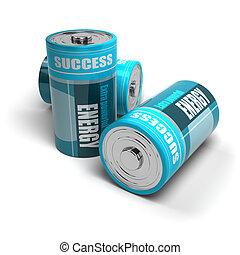 alcanzar, batería, positivo, energía, éxito, concepto,...
