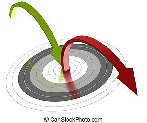 alcanzar, plano de fondo, blanco, uno, gris, verde, centro, flecha roja, botar, objetivo, afuera, blanco
