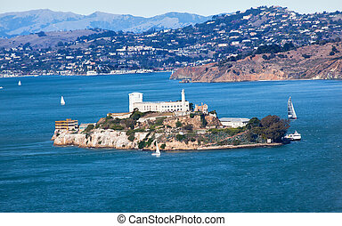 alcatraz 島, 航行, 小船, 舊金山, 加利福尼亞
