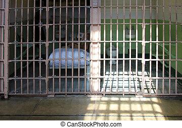 alcatraz, células, cárcel