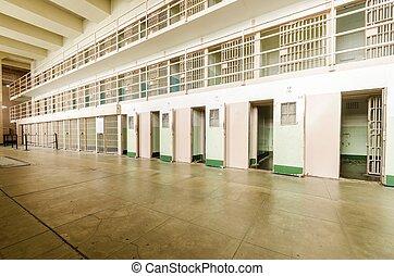 alcatraz, d, cellhouse, california, francisco, bloque, san