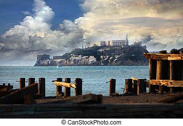 Alcatraz Federal Penitentiary in the San Fransisco Bay,...
