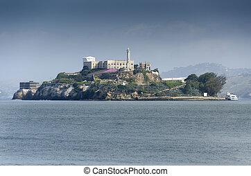 Alcatraz in San Francisco - Alcatraz prison on the sea of...