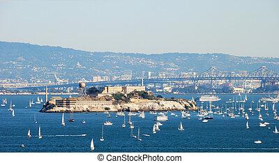 Alcatraz Island and Prison in San Francisco Bay on a sunny...